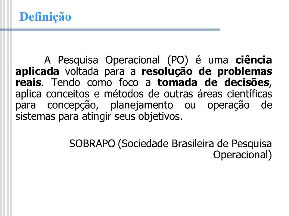 Definição A Pesquisa Operacional (PO) é uma ciência aplicada voltada para a resolução de problemas reais. Tendo como foco a tomada de decisões, aplica