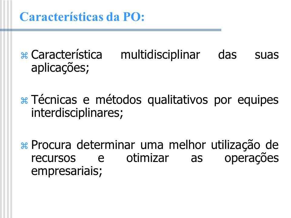 Características da PO: Característica multidisciplinar das suas aplicações; Técnicas e métodos qualitativos por equipes interdisciplinares; Procura de