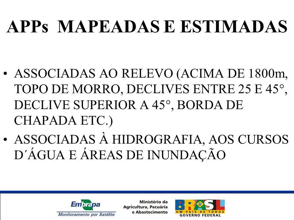 APPs MAPEADAS E ESTIMADAS ASSOCIADAS AO RELEVO (ACIMA DE 1800m, TOPO DE MORRO, DECLIVES ENTRE 25 E 45°, DECLIVE SUPERIOR A 45°, BORDA DE CHAPADA ETC.)