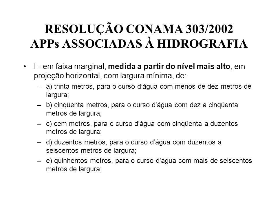 RESOLUÇÃO CONAMA 303/2002 APPs ASSOCIADAS À HIDROGRAFIA I - em faixa marginal, medida a partir do nível mais alto, em projeção horizontal, com largura