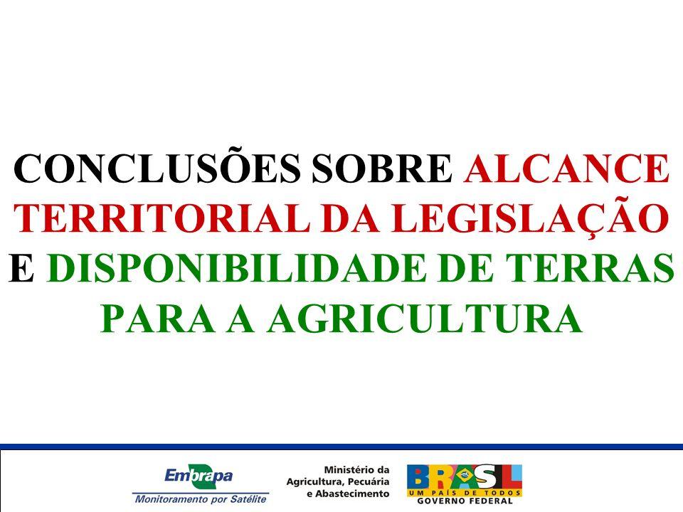 CONCLUSÕES SOBRE ALCANCE TERRITORIAL DA LEGISLAÇÃO E DISPONIBILIDADE DE TERRAS PARA A AGRICULTURA Unidade Síntese