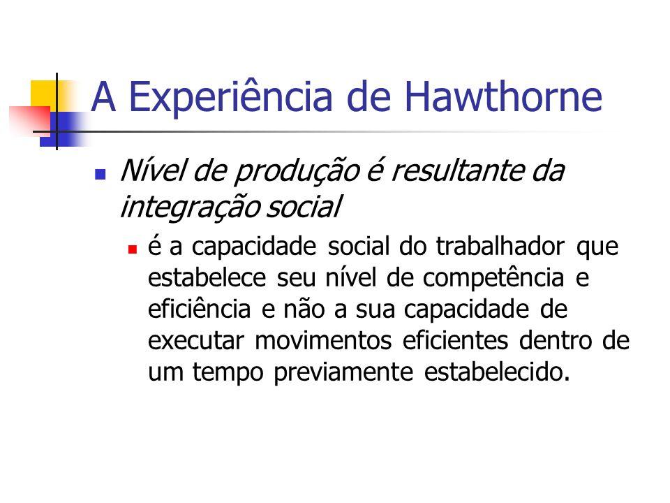 A Experiência de Hawthorne Nível de produção é resultante da integração social é a capacidade social do trabalhador que estabelece seu nível de compet