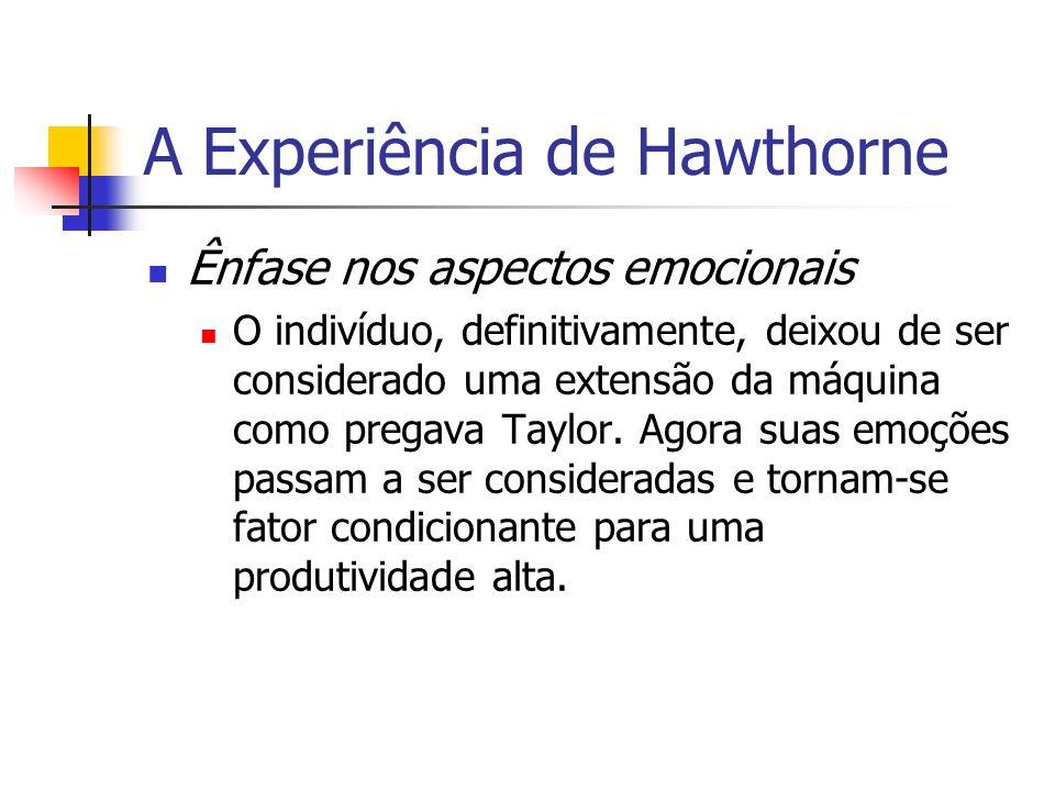 A Experiência de Hawthorne Ênfase nos aspectos emocionais O indivíduo, definitivamente, deixou de ser considerado uma extensão da máquina como pregava