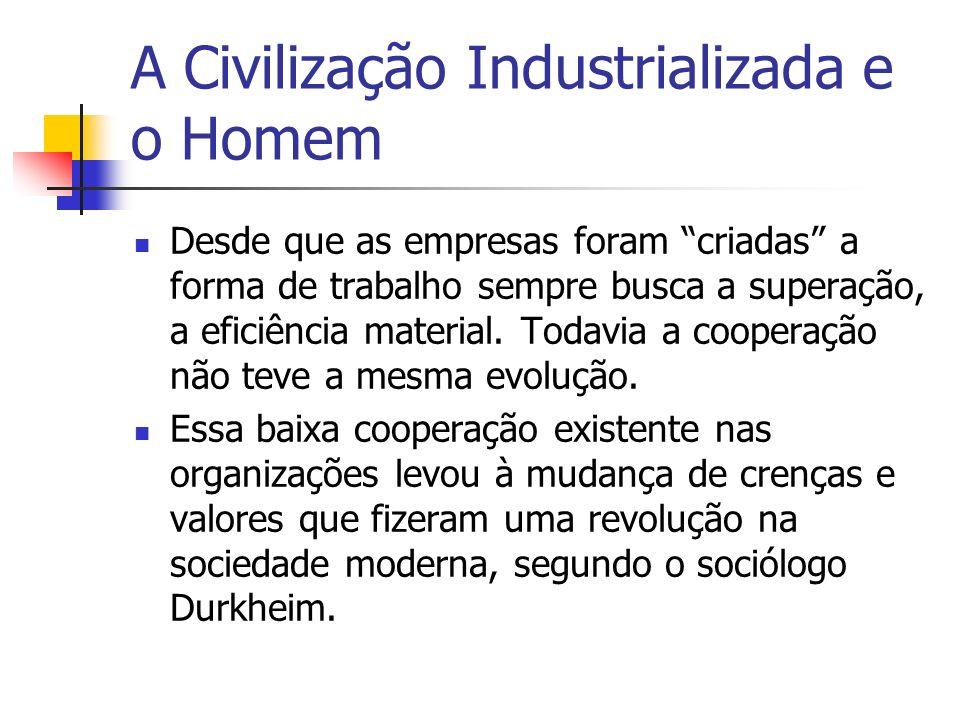 A Civilização Industrializada e o Homem Desde que as empresas foram criadas a forma de trabalho sempre busca a superação, a eficiência material. Todav