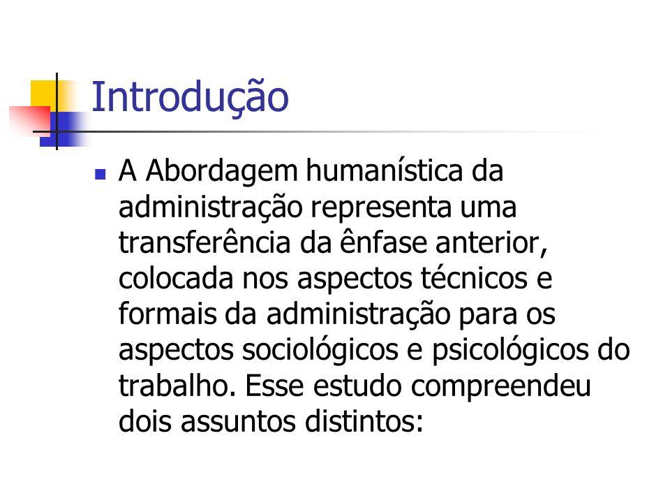 Introdução A Abordagem humanística da administração representa uma transferência da ênfase anterior, colocada nos aspectos técnicos e formais da admin