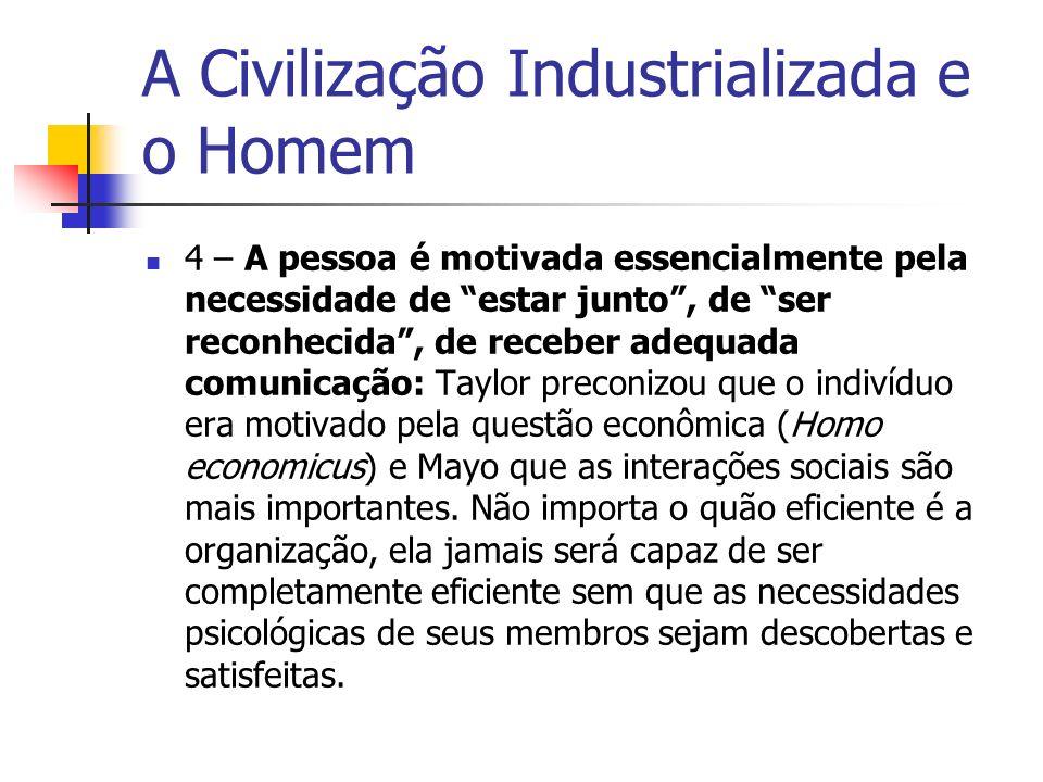 A Civilização Industrializada e o Homem 4 – A pessoa é motivada essencialmente pela necessidade de estar junto, de ser reconhecida, de receber adequad