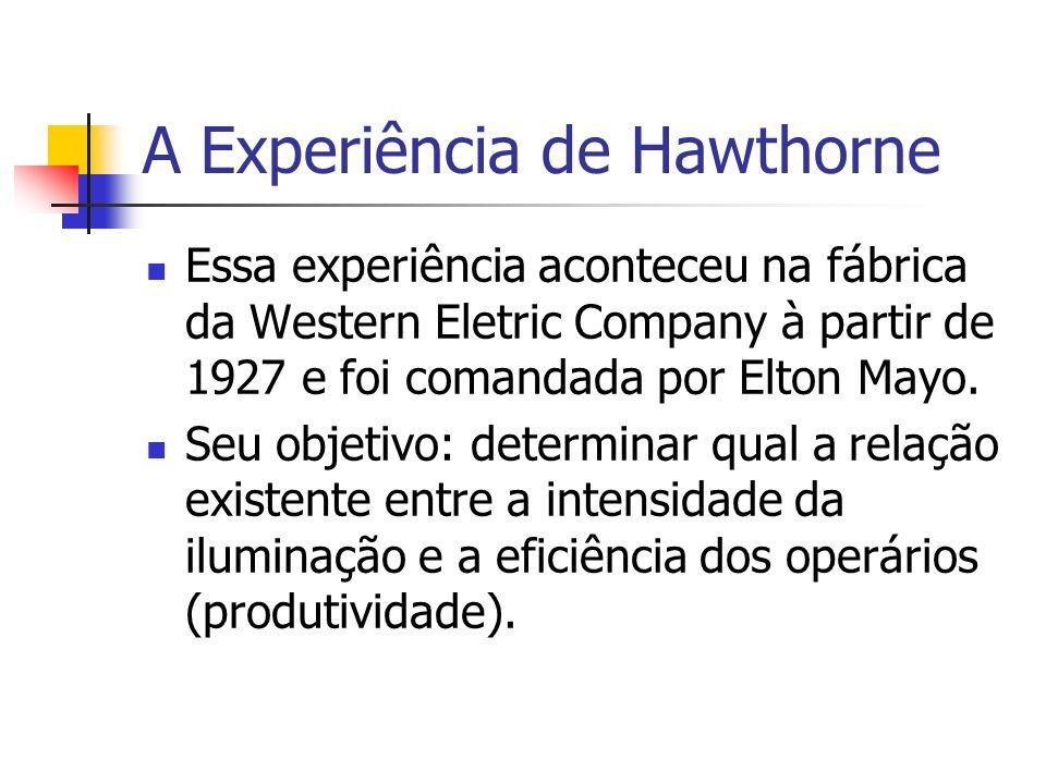 A Experiência de Hawthorne Essa experiência aconteceu na fábrica da Western Eletric Company à partir de 1927 e foi comandada por Elton Mayo. Seu objet