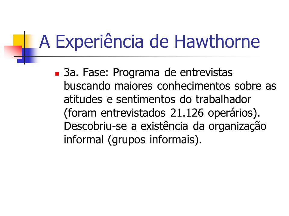 A Experiência de Hawthorne 3a. Fase: Programa de entrevistas buscando maiores conhecimentos sobre as atitudes e sentimentos do trabalhador (foram entr