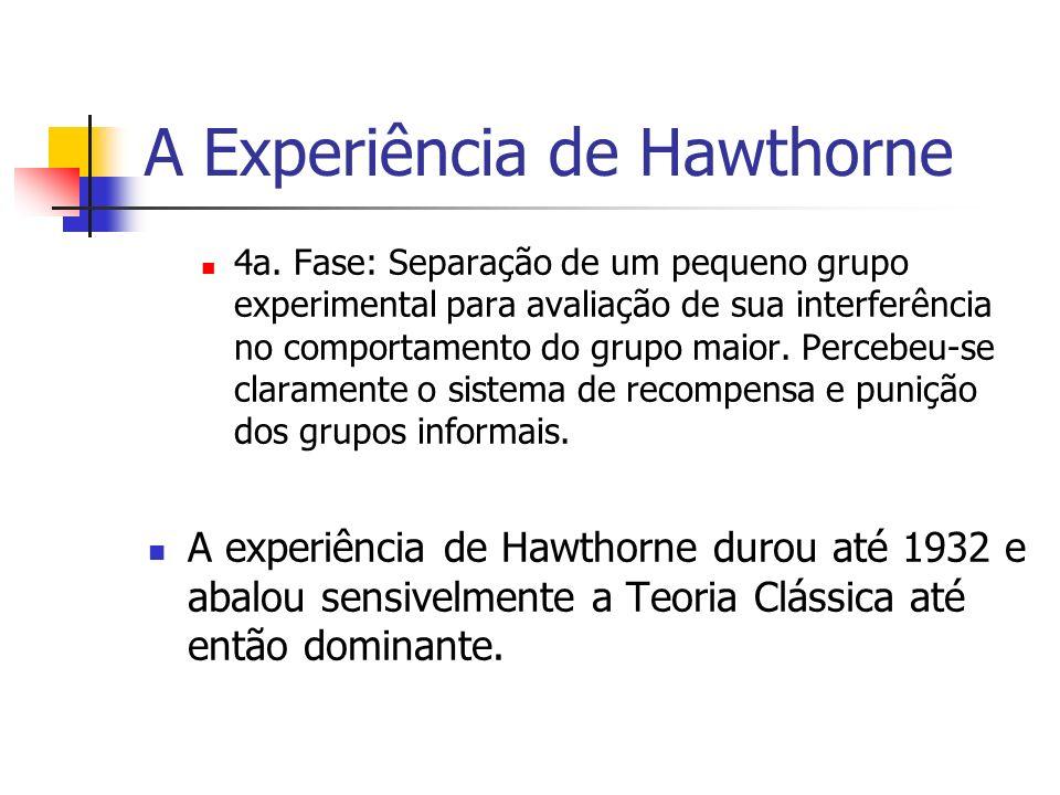 A Experiência de Hawthorne Conclusões da Experiência de Hawthorne: Nível de produção é resultante da integração social; Comportamento social dos empregados; As recompensas e sansões sociais; Grupos informais; As relações humanas; A importância do conteúdo do cargo; Ênfase nos aspectos emocionais.