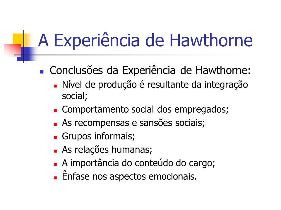 A Experiência de Hawthorne Nível de produção é resultante da integração social é a capacidade social do trabalhador que estabelece seu nível de competência e eficiência e não a sua capacidade de executar movimentos eficientes dentro de um tempo previamente estabelecido.