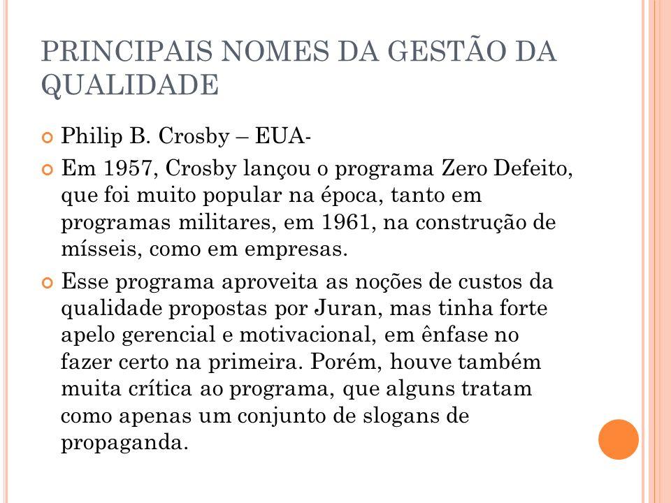 PRINCIPAIS NOMES DA GESTÃO DA QUALIDADE Philip B. Crosby – EUA- Em 1957, Crosby lançou o programa Zero Defeito, que foi muito popular na época, tanto