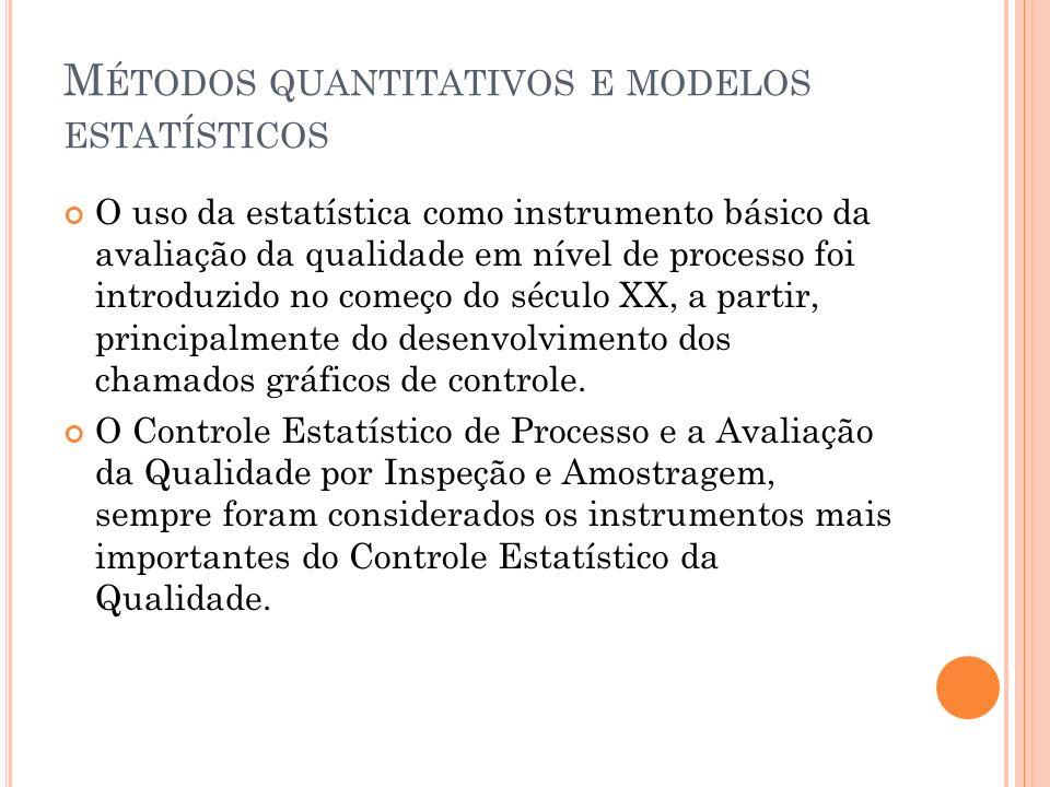 M ÉTODOS QUANTITATIVOS E MODELOS ESTATÍSTICOS O uso da estatística como instrumento básico da avaliação da qualidade em nível de processo foi introduz