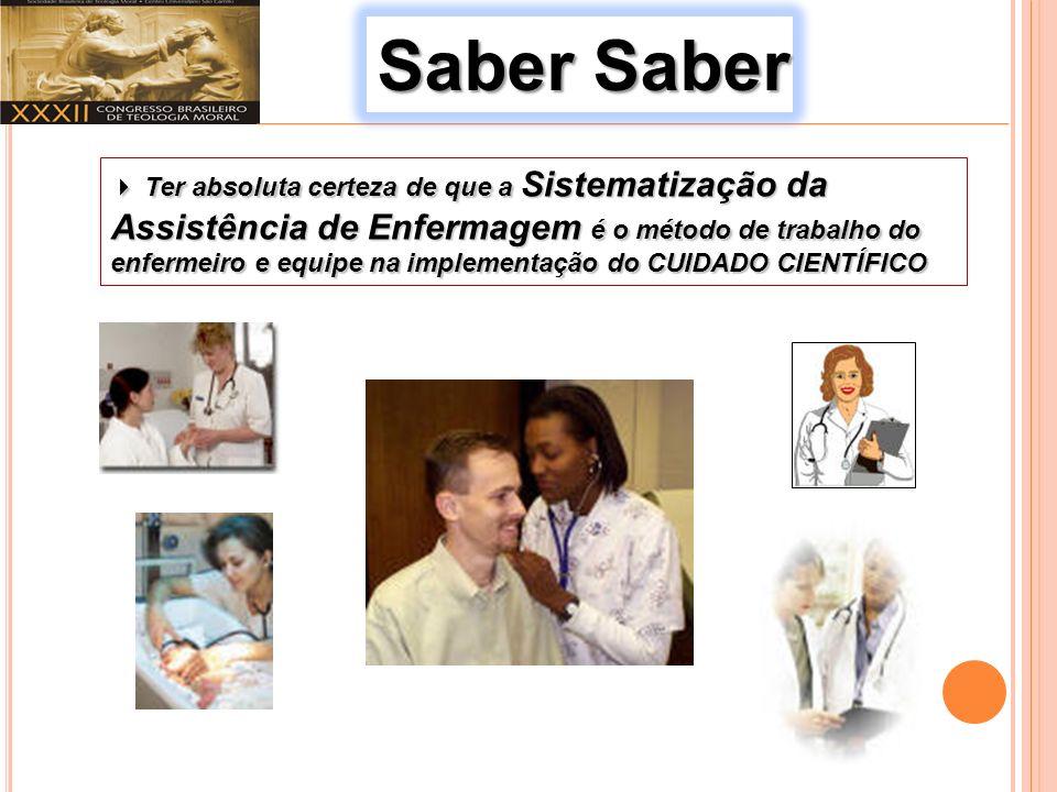 Saber Saber Ter absoluta certeza de que a Sistematização da Assistência de Enfermagem é o método de trabalho do enfermeiro e equipe na implementação do CUIDADO CIENTÍFICO Ter absoluta certeza de que a Sistematização da Assistência de Enfermagem é o método de trabalho do enfermeiro e equipe na implementação do CUIDADO CIENTÍFICO