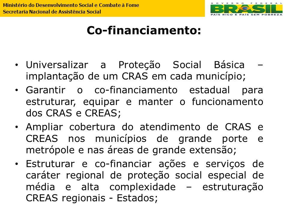 Co-financiamento: Universalizar a Proteção Social Básica – implantação de um CRAS em cada município; Garantir o co-financiamento estadual para estrutu