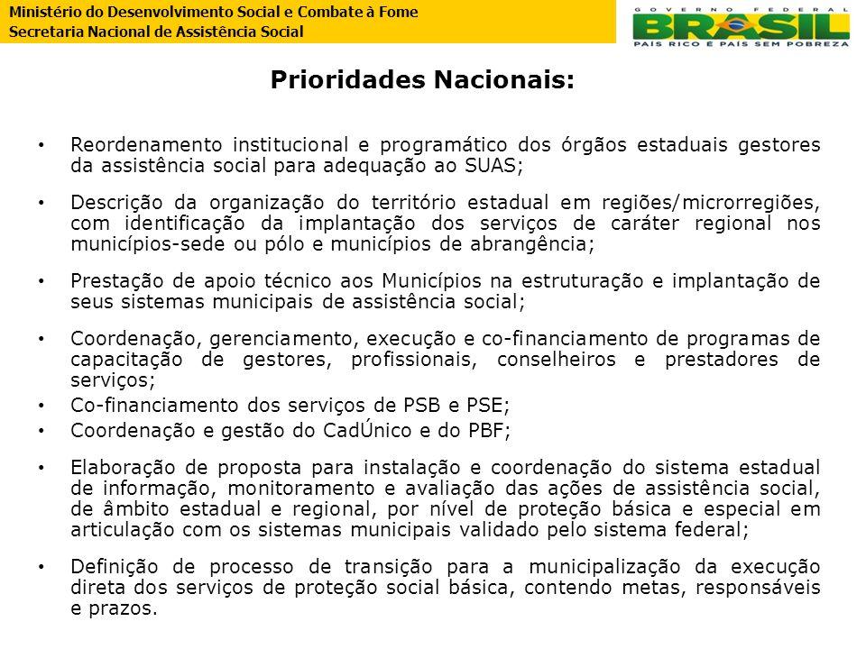 Prioridades Nacionais: Reordenamento institucional e programático dos órgãos estaduais gestores da assistência social para adequação ao SUAS; Descriçã