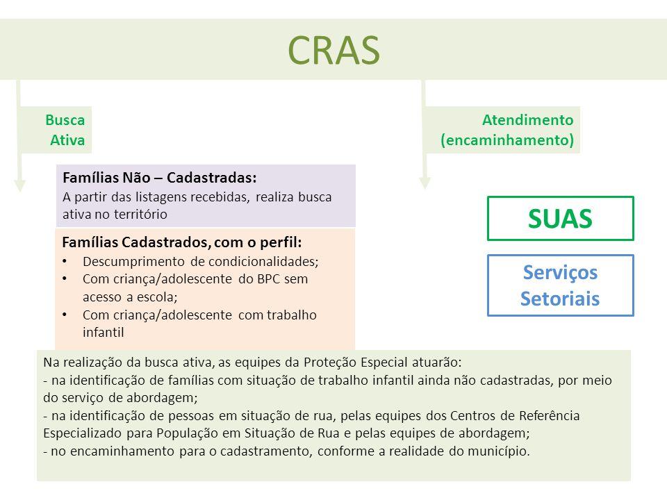 CRAS Famílias Não – Cadastradas: A partir das listagens recebidas, realiza busca ativa no território Famílias Cadastrados, com o perfil: Descumpriment