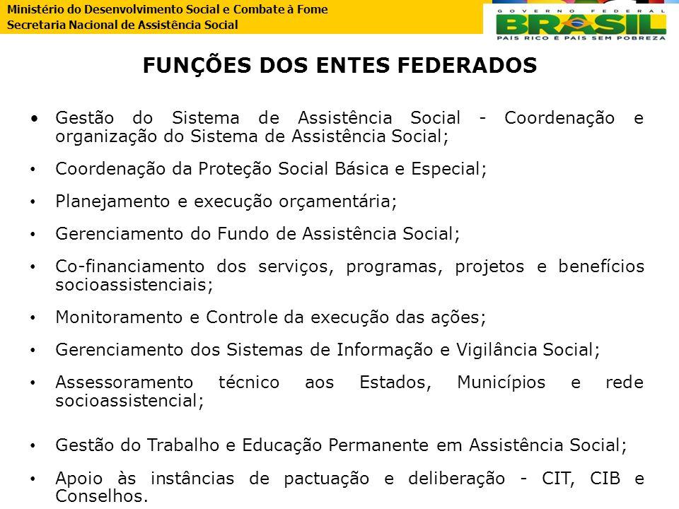 FUNÇÕES DOS ENTES FEDERADOS Gestão do Sistema de Assistência Social - Coordenação e organização do Sistema de Assistência Social; Coordenação da Prote
