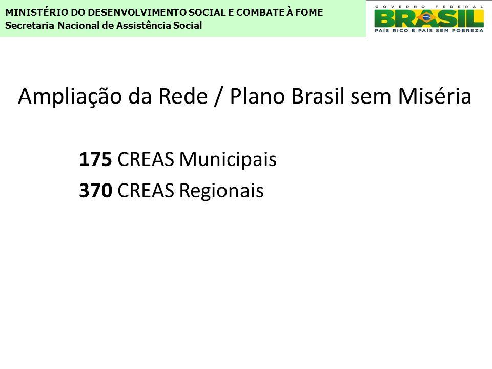 175 CREAS Municipais 370 CREAS Regionais MINISTÉRIO DO DESENVOLVIMENTO SOCIAL E COMBATE À FOME Secretaria Nacional de Assistência Social Ampliação da