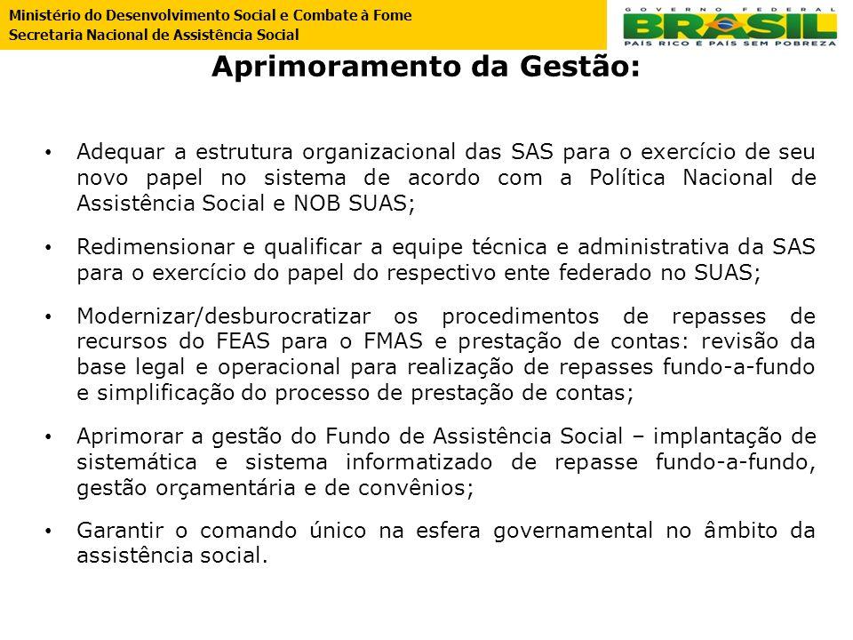 Aprimoramento da Gestão: Adequar a estrutura organizacional das SAS para o exercício de seu novo papel no sistema de acordo com a Política Nacional de