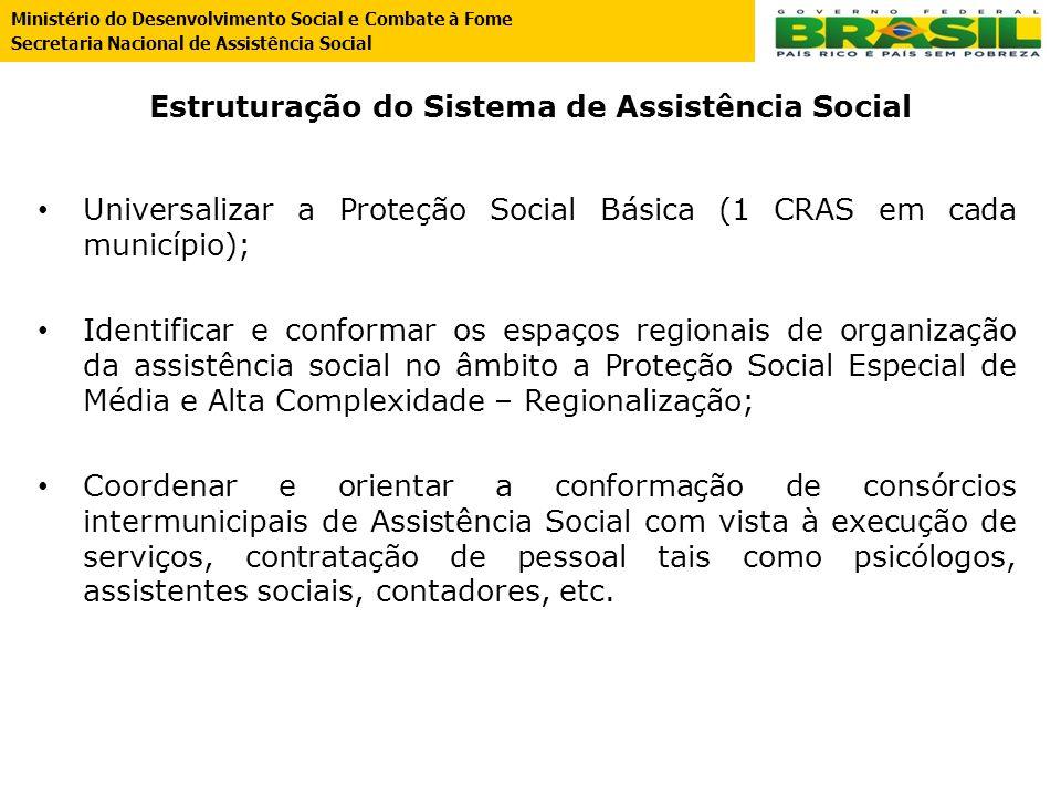 Estruturação do Sistema de Assistência Social Universalizar a Proteção Social Básica (1 CRAS em cada município); Identificar e conformar os espaços re