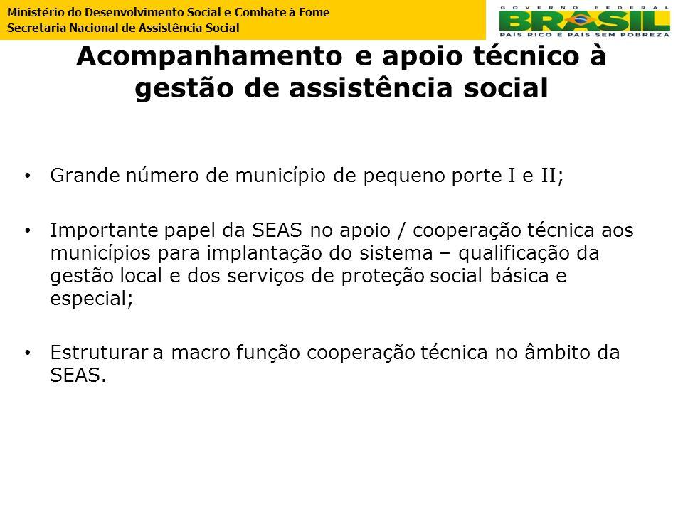 Acompanhamento e apoio técnico à gestão de assistência social Grande número de município de pequeno porte I e II; Importante papel da SEAS no apoio /