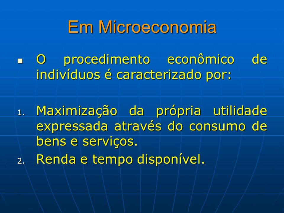 Em Microeconomia O procedimento econômico de indivíduos é caracterizado por: O procedimento econômico de indivíduos é caracterizado por: 1. Maximizaçã