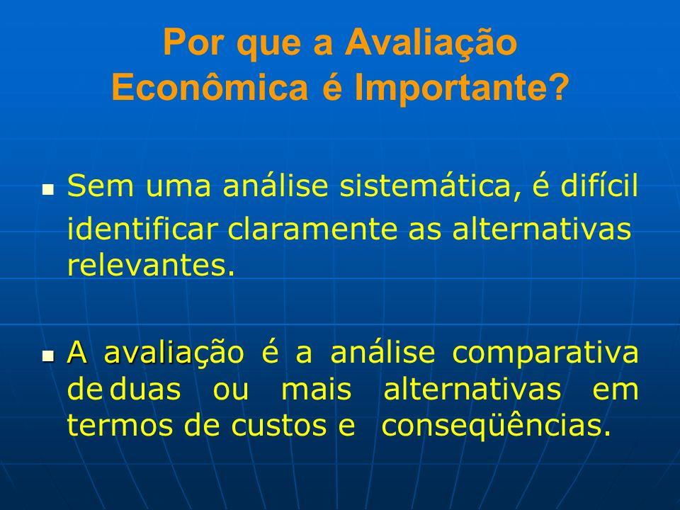 Por que a Avaliação Econômica é Importante? Sem uma análise sistemática, é difícil identificar claramente as alternativas relevantes. A avalia A avali