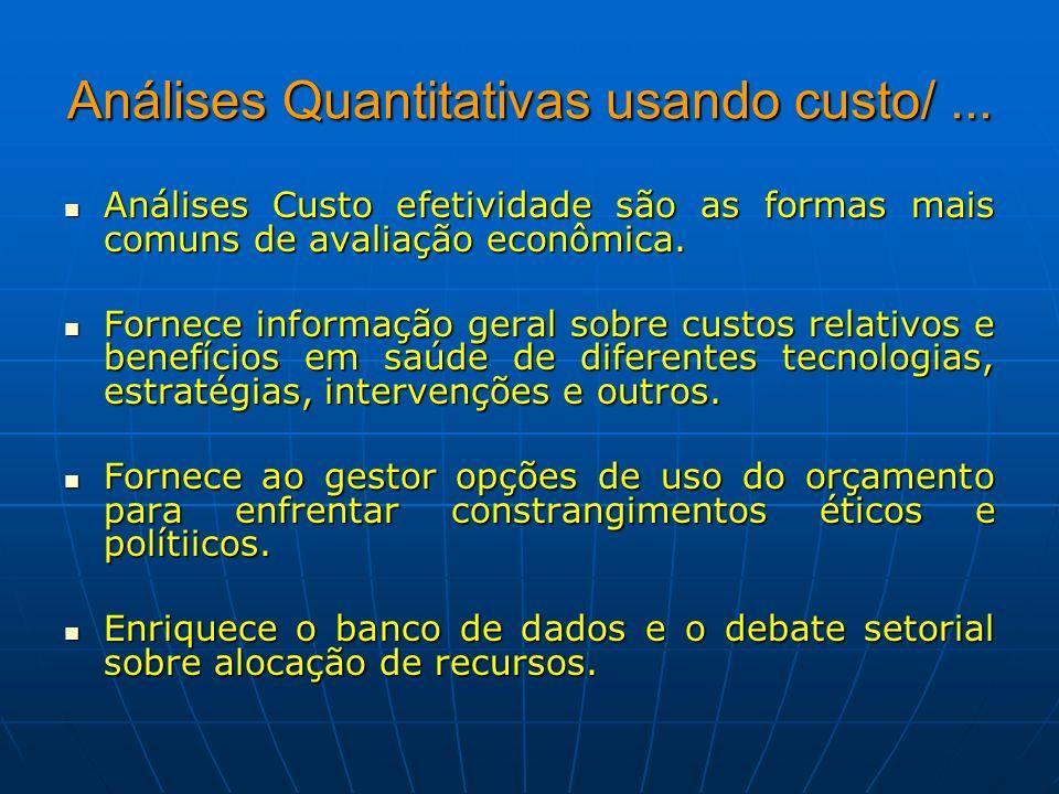 Análises Quantitativas usando custo/... Análises Custo efetividade são as formas mais comuns de avaliação econômica. Análises Custo efetividade são as