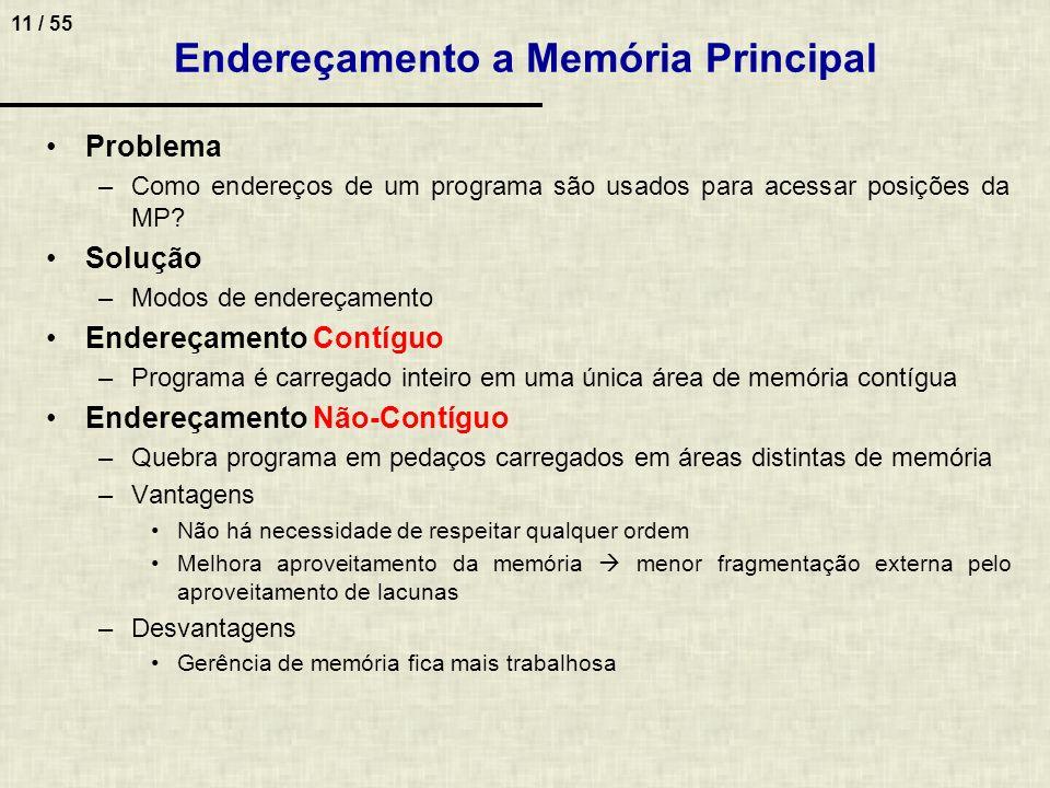 11 / 55 Endereçamento a Memória Principal Problema –Como endereços de um programa são usados para acessar posições da MP? Solução –Modos de endereçame