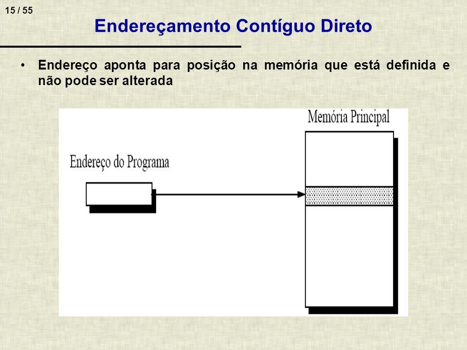 15 / 55 Endereçamento Contíguo Direto Endereço aponta para posição na memória que está definida e não pode ser alterada