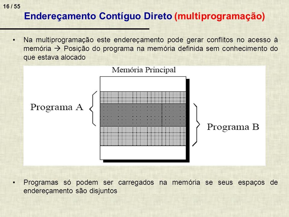 16 / 55 Endereçamento Contíguo Direto (multiprogramação) Na multiprogramação este endereçamento pode gerar conflitos no acesso à memória Posição do pr