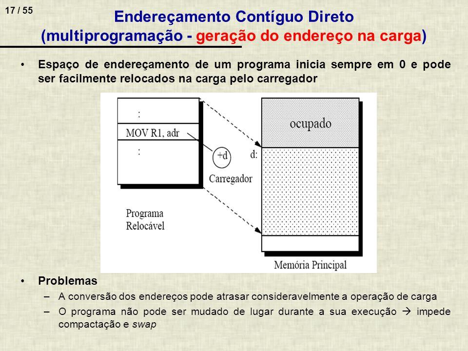 17 / 55 Endereçamento Contíguo Direto (multiprogramação - geração do endereço na carga) Espaço de endereçamento de um programa inicia sempre em 0 e po