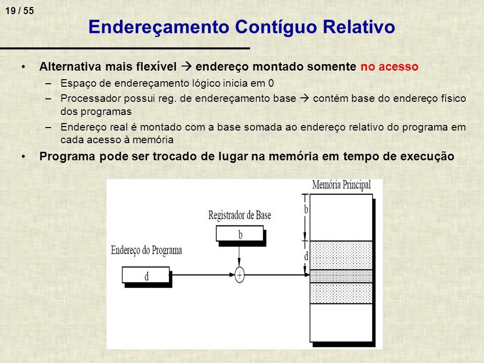 19 / 55 Endereçamento Contíguo Relativo Alternativa mais flexível endereço montado somente no acesso –Espaço de endereçamento lógico inicia em 0 –Proc
