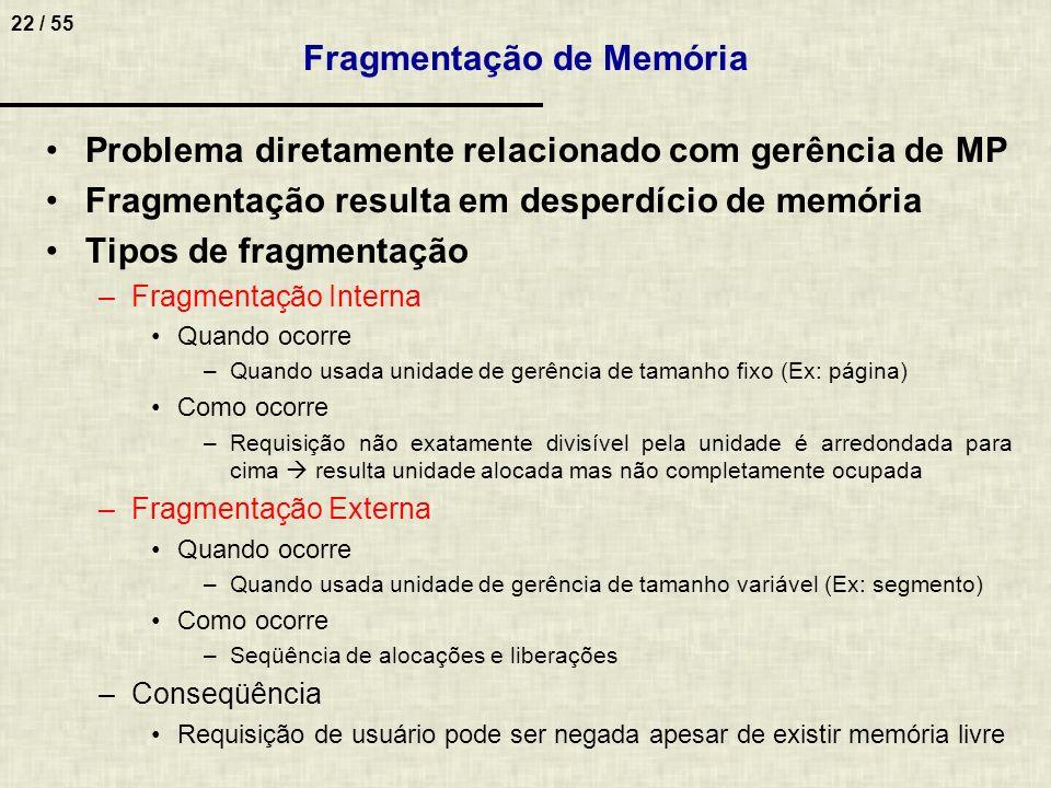 22 / 55 Problema diretamente relacionado com gerência de MP Fragmentação resulta em desperdício de memória Tipos de fragmentação –Fragmentação Interna