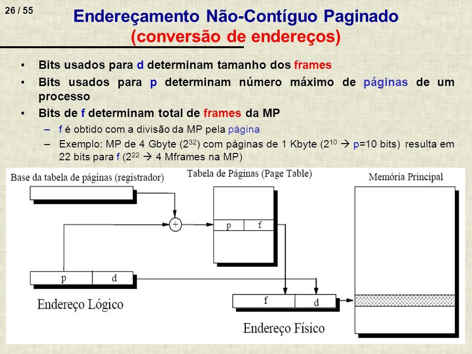 26 / 55 Endereçamento Não-Contíguo Paginado (conversão de endereços) Bits usados para d determinam tamanho dos frames Bits usados para p determinam nú