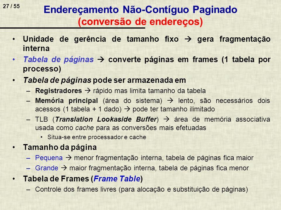 27 / 55 Endereçamento Não-Contíguo Paginado (conversão de endereços) Unidade de gerência de tamanho fixo gera fragmentação interna Tabela de páginas c