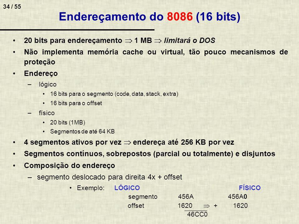 34 / 55 Endereçamento do 8086 (16 bits) 20 bits para endereçamento 1 MB limitará o DOS Não implementa memória cache ou virtual, tão pouco mecanismos d