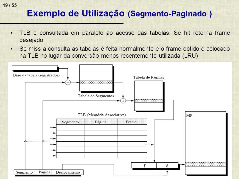 49 / 55 Exemplo de Utilização (Segmento-Paginado ) TLB é consultada em paralelo ao acesso das tabelas. Se hit retorna frame desejado Se miss a consult