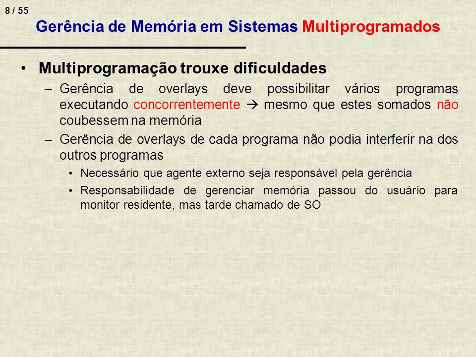 8 / 55 Gerência de Memória em Sistemas Multiprogramados Multiprogramação trouxe dificuldades –Gerência de overlays deve possibilitar vários programas