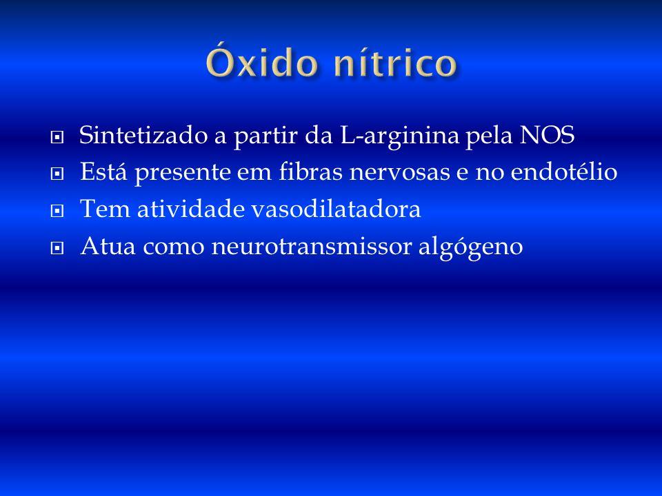 Sintetizado a partir da L-arginina pela NOS Está presente em fibras nervosas e no endotélio Tem atividade vasodilatadora Atua como neurotransmissor al