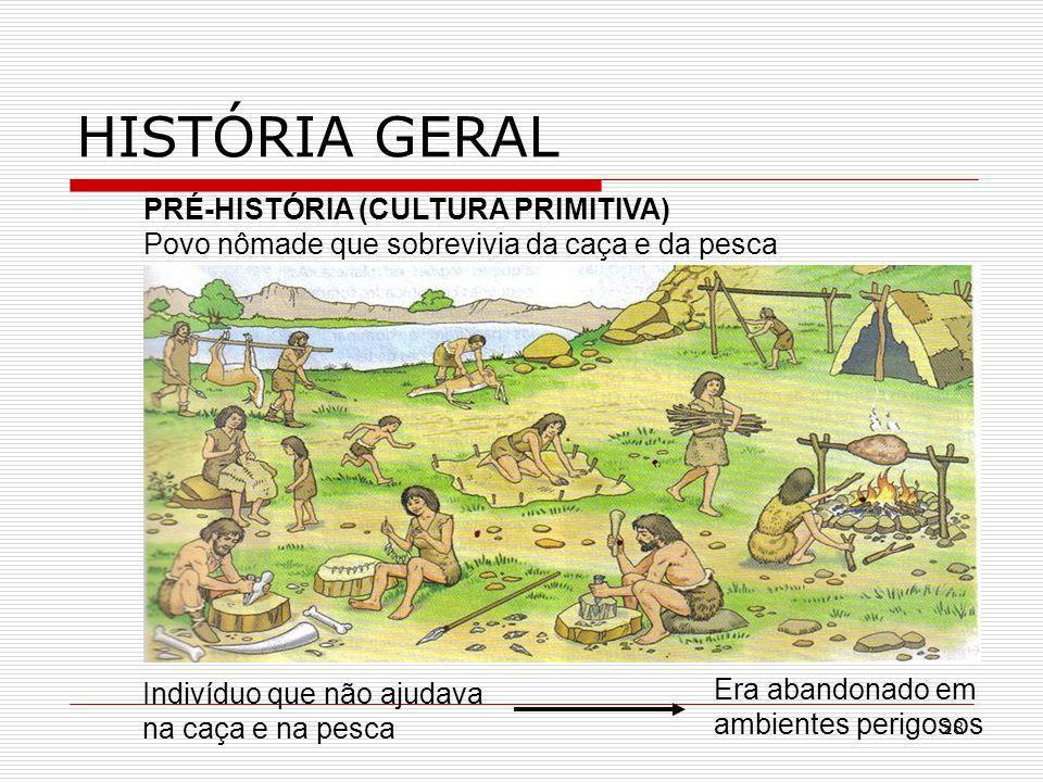 28 HISTÓRIA GERAL PRÉ-HISTÓRIA (CULTURA PRIMITIVA) Povo nômade que sobrevivia da caça e da pesca Indivíduo que não ajudava na caça e na pesca Era aban