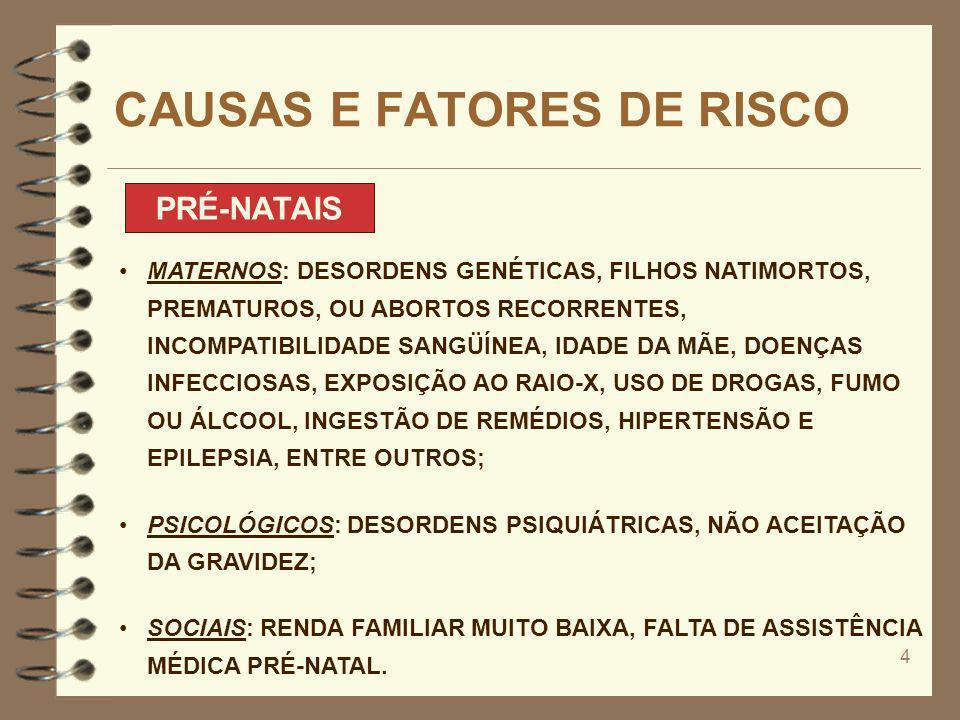4 CAUSAS E FATORES DE RISCO PRÉ-NATAIS MATERNOS: DESORDENS GENÉTICAS, FILHOS NATIMORTOS, PREMATUROS, OU ABORTOS RECORRENTES, INCOMPATIBILIDADE SANGÜÍN