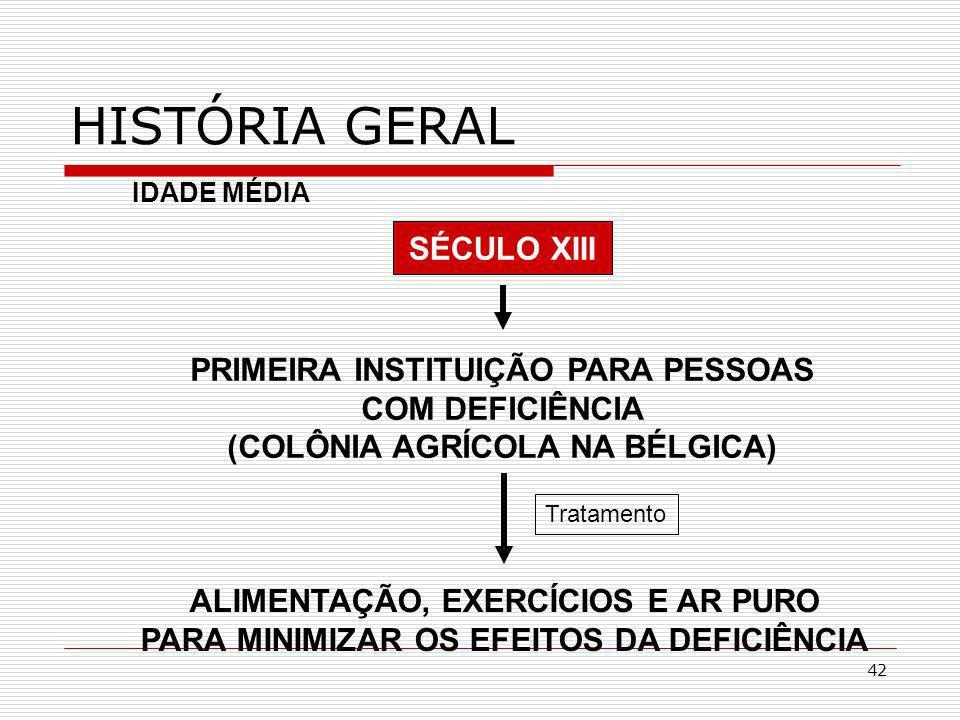 42 SÉCULO XIII HISTÓRIA GERAL PRIMEIRA INSTITUIÇÃO PARA PESSOAS COM DEFICIÊNCIA (COLÔNIA AGRÍCOLA NA BÉLGICA) IDADE MÉDIA ALIMENTAÇÃO, EXERCÍCIOS E AR