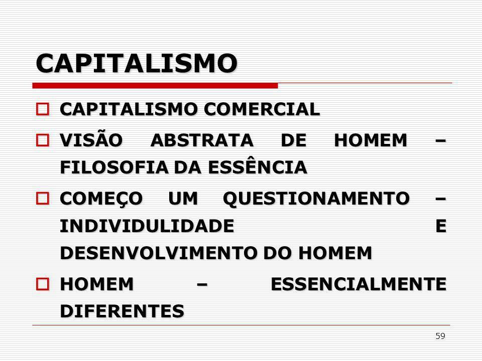 59 CAPITALISMO CAPITALISMO COMERCIAL CAPITALISMO COMERCIAL VISÃO ABSTRATA DE HOMEM – FILOSOFIA DA ESSÊNCIA VISÃO ABSTRATA DE HOMEM – FILOSOFIA DA ESSÊ