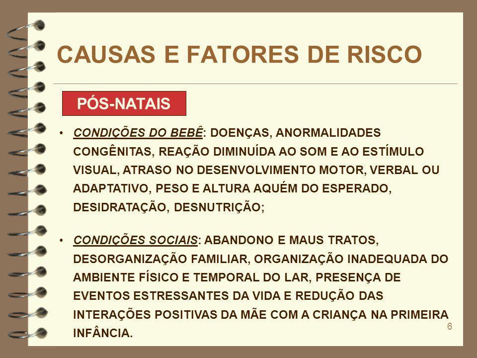 6 CAUSAS E FATORES DE RISCO PÓS-NATAIS CONDIÇÕES DO BEBÊ: DOENÇAS, ANORMALIDADES CONGÊNITAS, REAÇÃO DIMINUÍDA AO SOM E AO ESTÍMULO VISUAL, ATRASO NO D