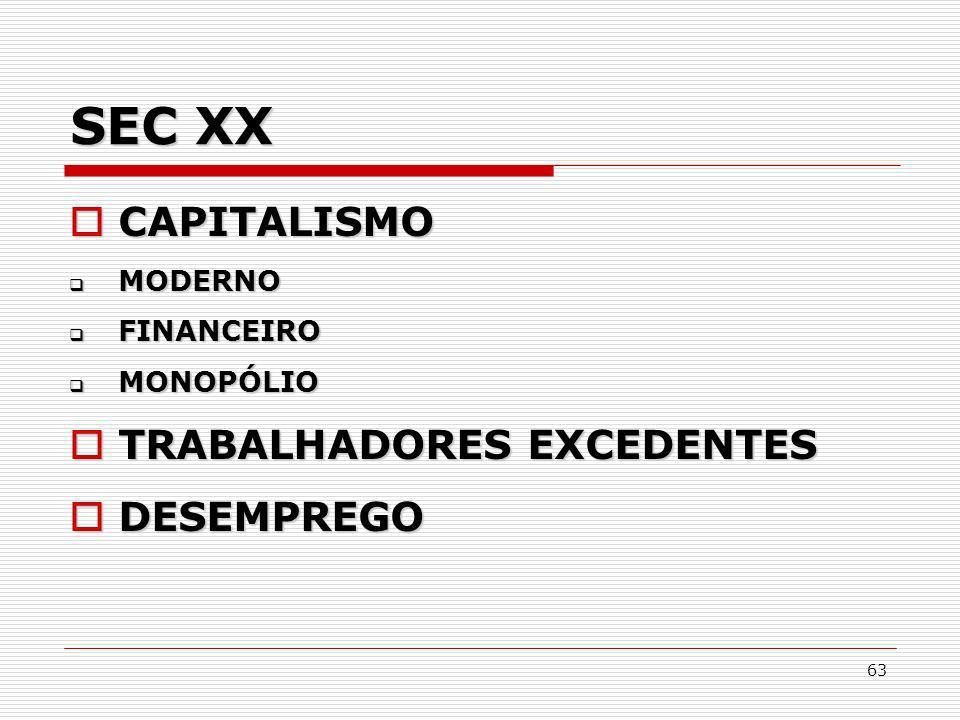 63 SEC XX CAPITALISMO CAPITALISMO MODERNO MODERNO FINANCEIRO FINANCEIRO MONOPÓLIO MONOPÓLIO TRABALHADORES EXCEDENTES TRABALHADORES EXCEDENTES DESEMPRE