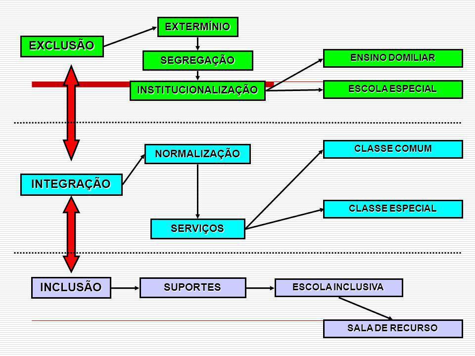 76 EXCLUSÃO SEGREGAÇÃO EXTERMÍNIO INSTITUCIONALIZAÇÃO INTEGRAÇÃO NORMALIZAÇÃO ENSINO DOMILIAR ESCOLA ESPECIAL CLASSE ESPECIAL CLASSE COMUM ESCOLA INCL