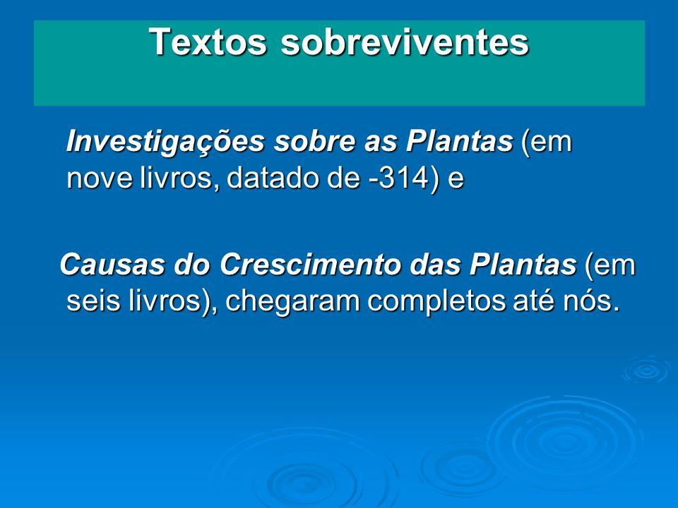 Textos sobreviventes Investigações sobre as Plantas (em nove livros, datado de -314) e Investigações sobre as Plantas (em nove livros, datado de -314)