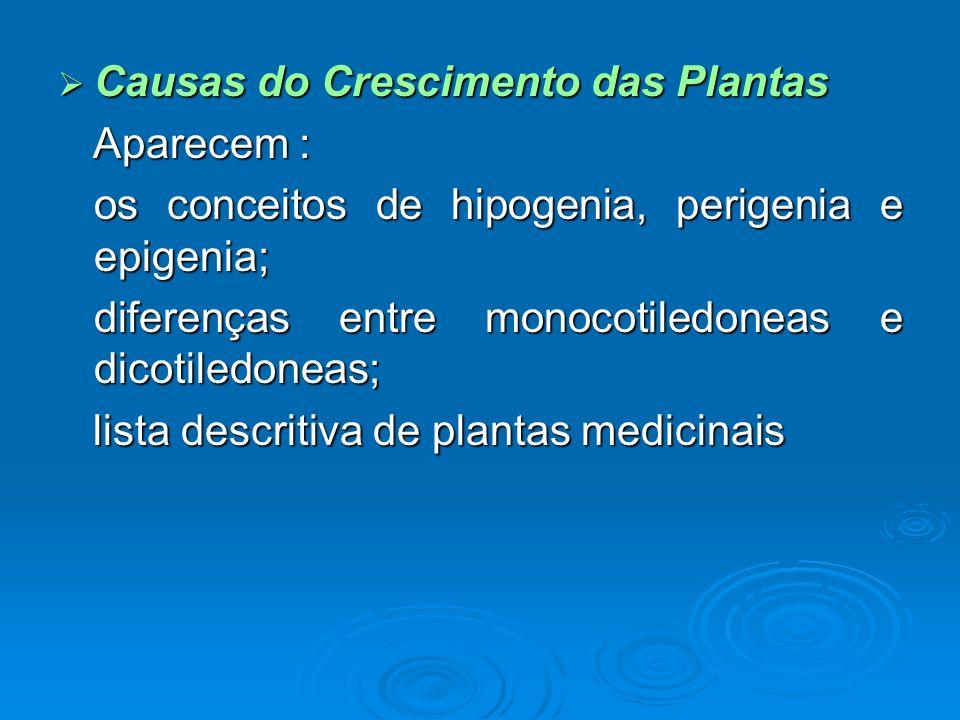 Causas do Crescimento das Plantas Causas do Crescimento das Plantas Aparecem : Aparecem : os conceitos de hipogenia, perigenia e epigenia; os conceito