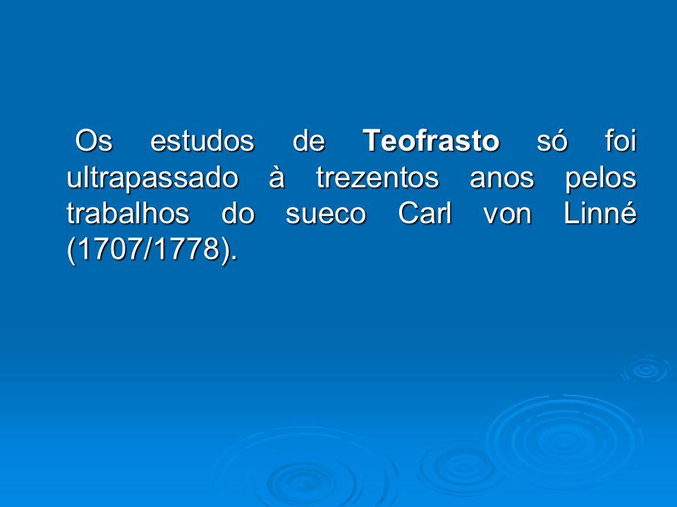 Os estudos de Teofrasto só foi ultrapassado à trezentos anos pelos trabalhos do sueco Carl von Linné (1707/1778). Os estudos de Teofrasto só foi ultra